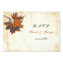 maple leaves rustic Wedding rsvp standard 3.5 x 5 Card