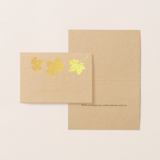 Maple leaves simple elegant fall wedding thank you foil card