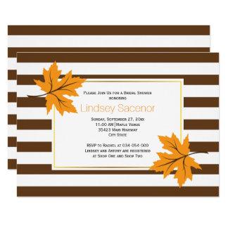 Maple leaves & stripes fall wedding bridal shower card