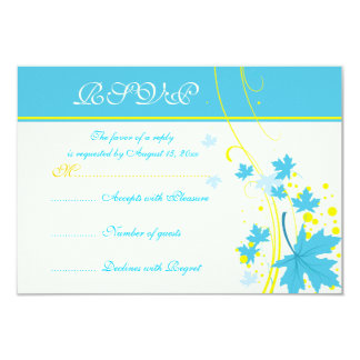 Maple leaves turquoise yellow wedding RSVP card