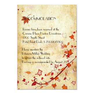 Maple Leaves Vintage Fall Wedding Accommodation Card