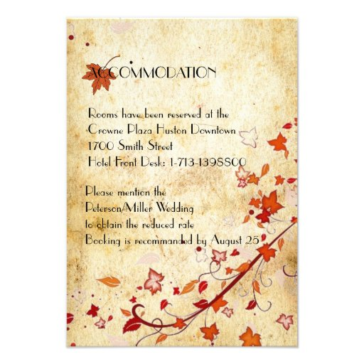 Maple Leaves Vintage Fall Wedding Accommodation 35x5 Paper Invitation Card