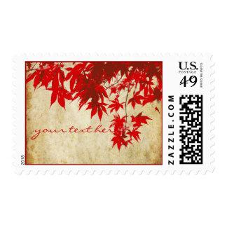 Maple Leaves Vintage Fall Wedding DIY font Postage