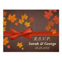 maple leaves Wedding rsvp Postcard