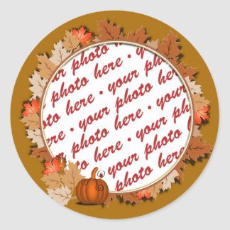 Maple Leaves with Pumpkin Frame on Autumn Brown Classic Round Sticker