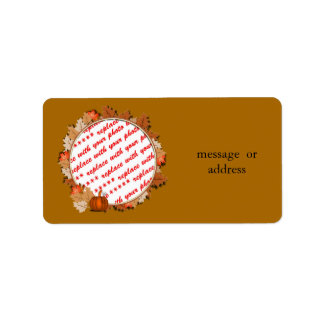 Maple Leaves with Pumpkin Frame on Autumn Brown Personalized Address Labels