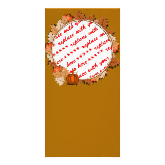 Maple Leaves with Pumpkin Frame on Autumn Brown Picture Card