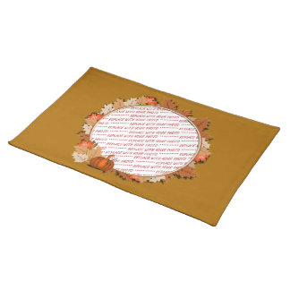 Maple Leaves with Pumpkin Frame on Autumn Brown Cloth Place Mat