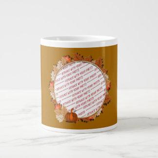 Maple Leaves with Pumpkin Frame on Autumn Brown 20 Oz Large Ceramic Coffee Mug