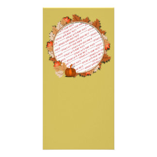 Maple Leaves with Pumpkin Frame on Autumn Gold Picture Card