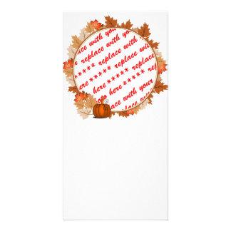 Maple Leaves with Pumpkin Photo Frame Custom Photo Card