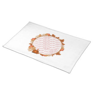 Maple Leaves with Pumpkin Photo Frame Cloth Placemat