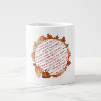 Maple Leaves with Pumpkin Photo Frame 20 Oz Large Ceramic Coffee Mug