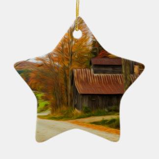 Maple Sugar Shack in  Vermont Fall Ceramic Ornament