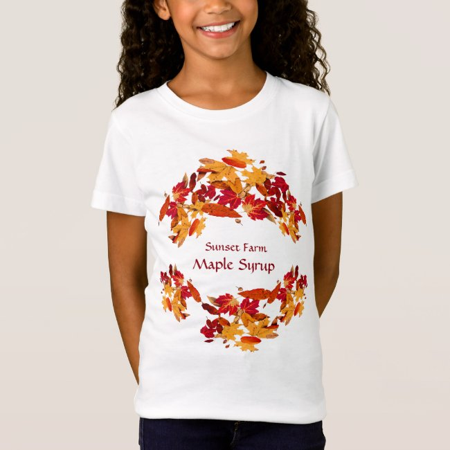 Maple Syrup Autumn Foliage Promotional Kids Shirt