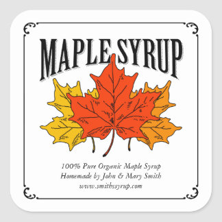 Maple syrup label. square sticker