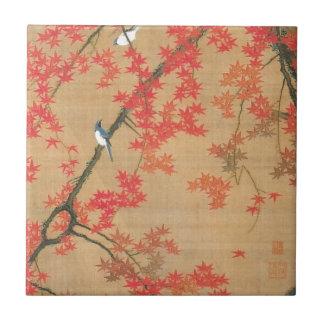 Maple Tree and Small Birds by Ito Jakuchu Ceramic Tile