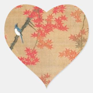 Maple Tree and Small Birds by Ito Jakuchu Heart Sticker