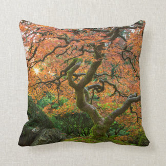 Maple Tree At The Japanese Gardens In Autumn Throw Pillow