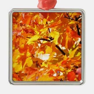 Maple tree autumn leaves metal ornament