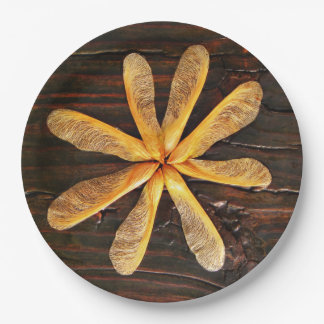 Maple Tree Helicopters Dark Wood Paper Plate