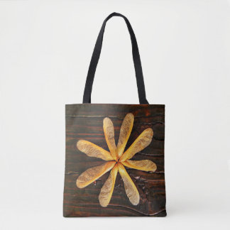 Maple Tree Helicopters Dark Wood Tote Bag