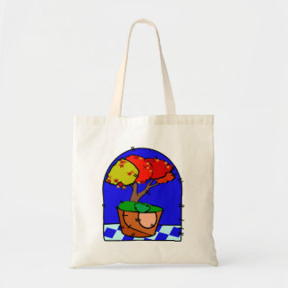 Maple Tree In Pot Blue Background Bags