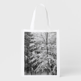 Maple Tree Outlined In Snow Grocery Bag