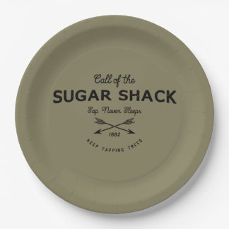 Maple Tree Sugar Shack Party 9 Inch Paper Plate