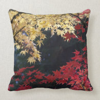Maple trees in autumn color throw pillows