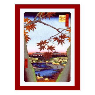 Maple Trees Tekona Hiroshige Vintage Japanese Postcard