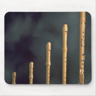 Maple wood recorders, wind instruments mouse pad