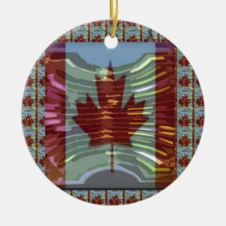 MapleLeaf: Representación de valores canadienses Adorno Navideño Redondo De Cerámica