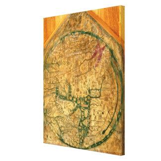 Mappa Mundi, c.1290 Stretched Canvas Print