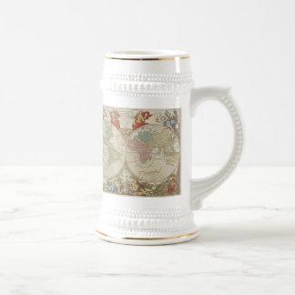 Mappe Monde ou Description du Globe Terrestre & Aq Beer Stein