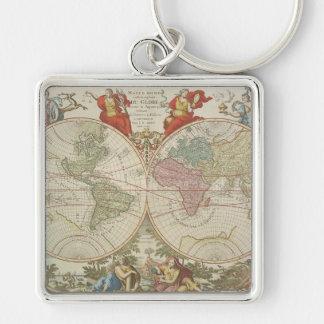 Mappe Monde ou Description du Globe Terrestre & Aq Keychain