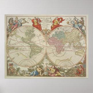 Mappe Monde ou Description du Globe Terrestre & Aq Poster