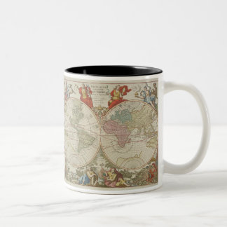 Mappe Monde ou Description du Globe Terrestre & Aq Two-Tone Coffee Mug