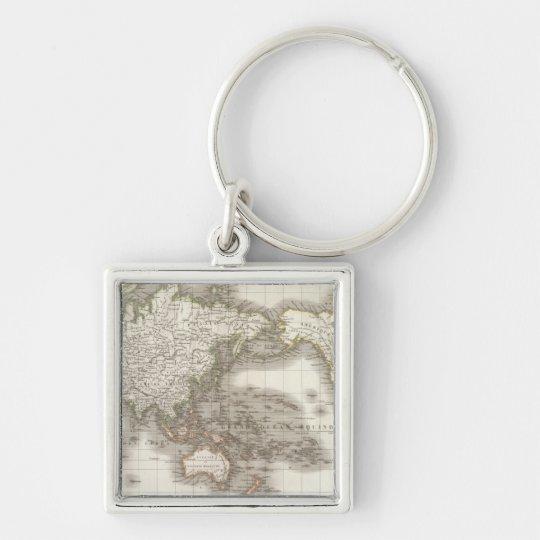 Mappemonde - mapa del globo llavero cuadrado plateado