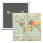 Mapping of the world 2 inch square button