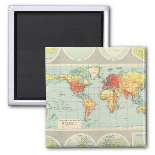 Mapping of the world 2 inch square magnet