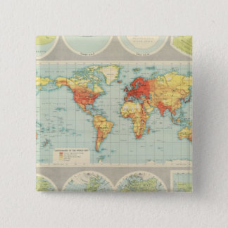 Mapping of the world pinback button