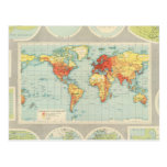 Mapping of the world postcard