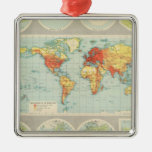 Mapping of the world square metal christmas ornament