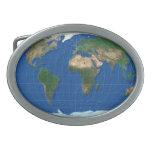 MapRef Buckle World Map Oval blue Hebilla Cinturón Oval
