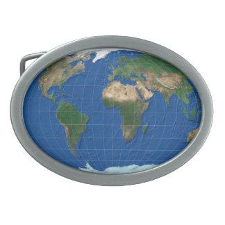 MapRef Buckle World map oval blue Oval Belt Buckle