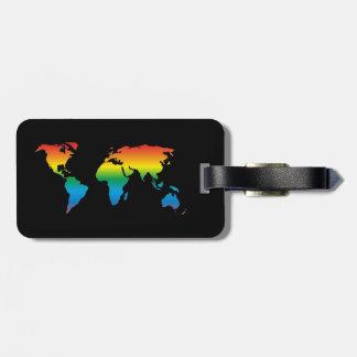 Mapref rainbow coloured world map black luggage tag