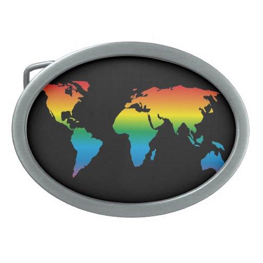 MapRef World Map Rainbow Black Oval Hebilla De Cinturón Oval