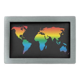 MapRef World map Rainbow Black Rectangular Belt Buckle