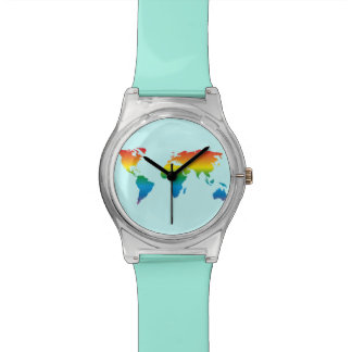 MapRef World Map Rainbow - Turquoise Watches